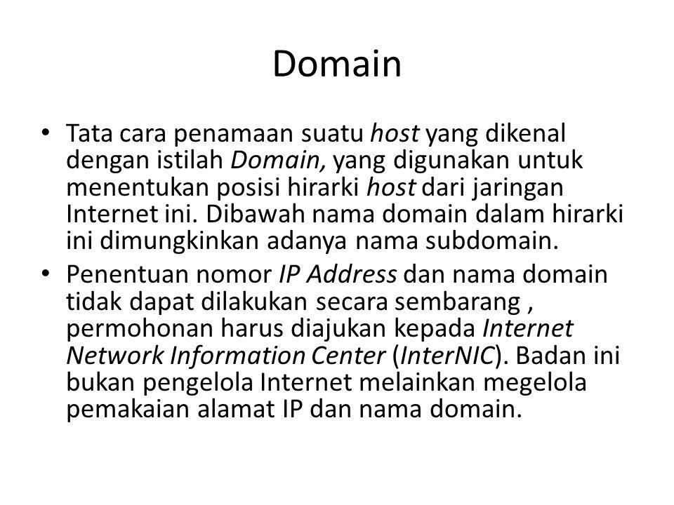 Domain • Tata cara penamaan suatu host yang dikenal dengan istilah Domain, yang digunakan untuk menentukan posisi hirarki host dari jaringan Internet