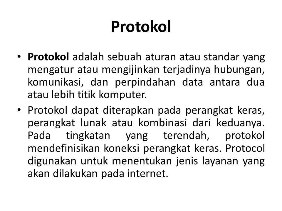Protokol • Protokol adalah sebuah aturan atau standar yang mengatur atau mengijinkan terjadinya hubungan, komunikasi, dan perpindahan data antara dua