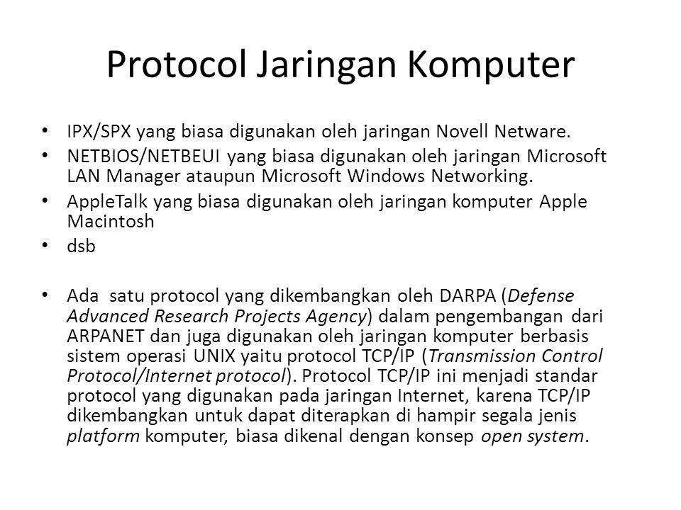 Protocol Jaringan Komputer • IPX/SPX yang biasa digunakan oleh jaringan Novell Netware. • NETBIOS/NETBEUI yang biasa digunakan oleh jaringan Microsoft