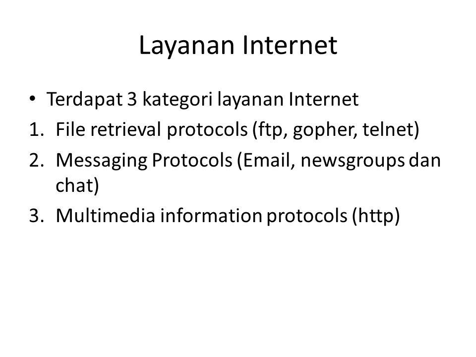 Layanan Internet • Terdapat 3 kategori layanan Internet 1.File retrieval protocols (ftp, gopher, telnet) 2.Messaging Protocols (Email, newsgroups dan