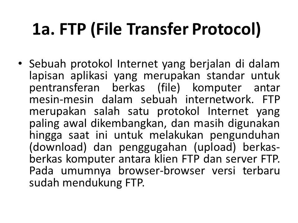 1a. FTP (File Transfer Protocol) • Sebuah protokol Internet yang berjalan di dalam lapisan aplikasi yang merupakan standar untuk pentransferan berkas
