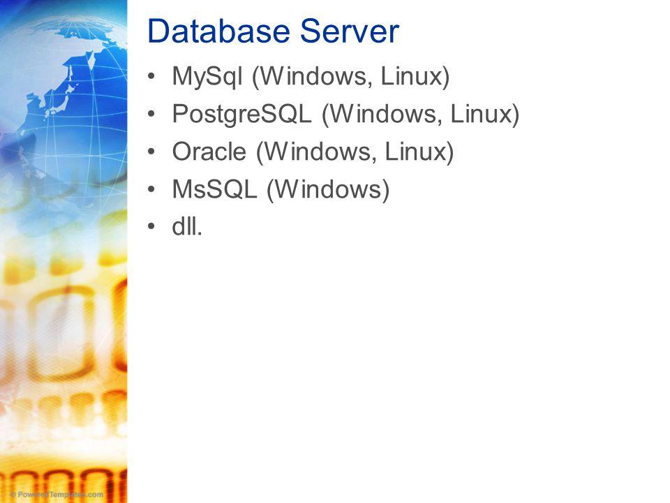 Database Server •MySql (Windows, Linux) •PostgreSQL (Windows, Linux) •Oracle (Windows, Linux) •MsSQL (Windows) •dll.