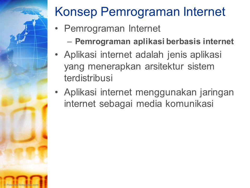 Konsep Pemrograman Internet •Pemrograman Internet –Pemrograman aplikasi berbasis internet •Aplikasi internet adalah jenis aplikasi yang menerapkan ars