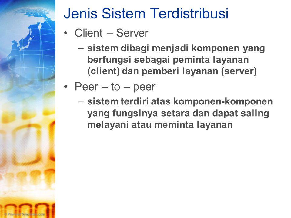 Jenis Sistem Terdistribusi •Client – Server –sistem dibagi menjadi komponen yang berfungsi sebagai peminta layanan (client) dan pemberi layanan (serve