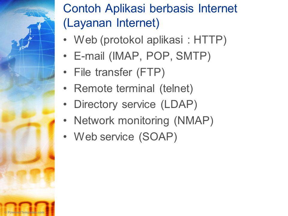 Contoh Aplikasi berbasis Internet (Layanan Internet) •Web (protokol aplikasi : HTTP) •E-mail (IMAP, POP, SMTP) •File transfer (FTP) •Remote terminal (