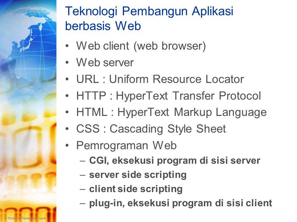 Teknologi Pembangun Aplikasi berbasis Web •Web client (web browser) •Web server •URL : Uniform Resource Locator •HTTP : HyperText Transfer Protocol •H