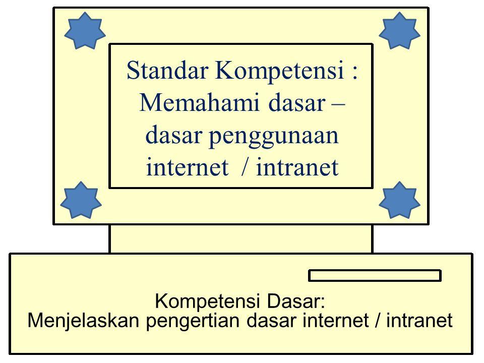 Standar Kompetensi : Memahami dasar – dasar penggunaan internet / intranet Kompetensi Dasar: Menjelaskan pengertian dasar internet / intranet
