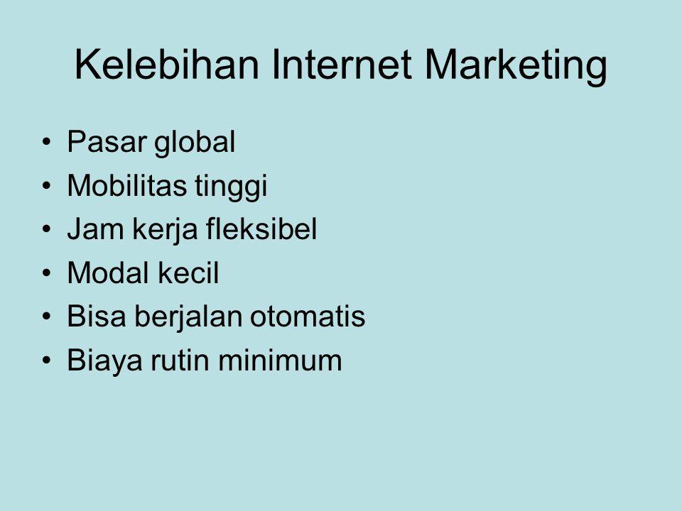 Kelebihan Internet Marketing •Pasar global •Mobilitas tinggi •Jam kerja fleksibel •Modal kecil •Bisa berjalan otomatis •Biaya rutin minimum