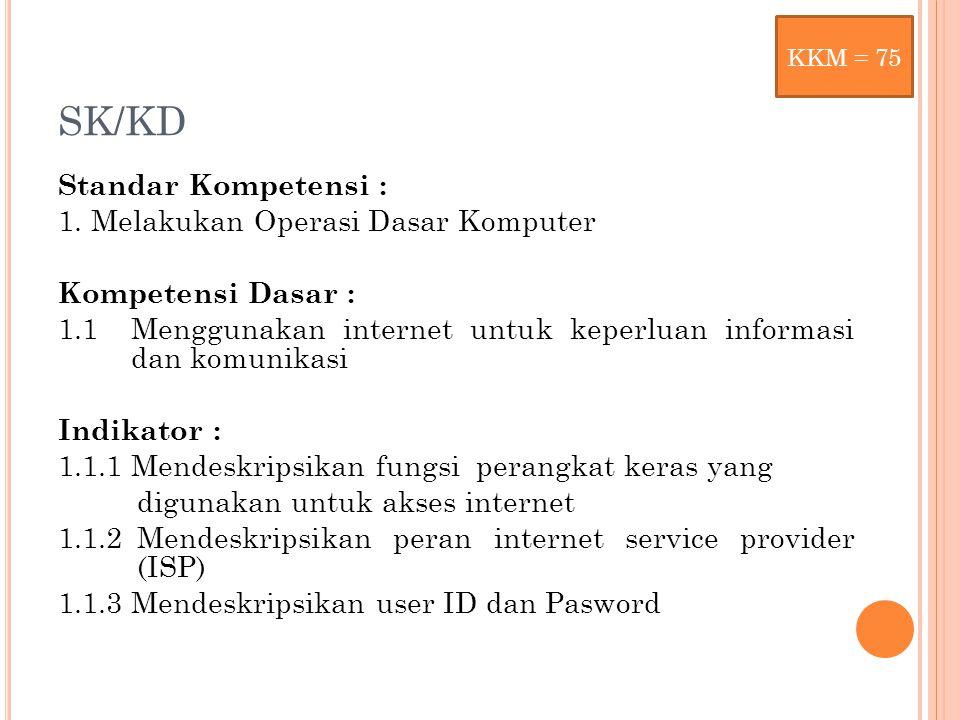 SK/KD Standar Kompetensi : 1. Melakukan Operasi Dasar Komputer Kompetensi Dasar : 1.1 Menggunakan internet untuk keperluan informasi dan komunikasi In
