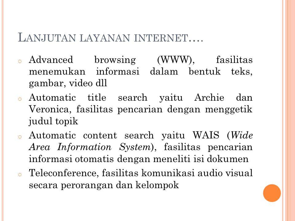 L ANJUTAN LAYANAN INTERNET …. o Advanced browsing (WWW), fasilitas menemukan informasi dalam bentuk teks, gambar, video dll o Automatic title search y