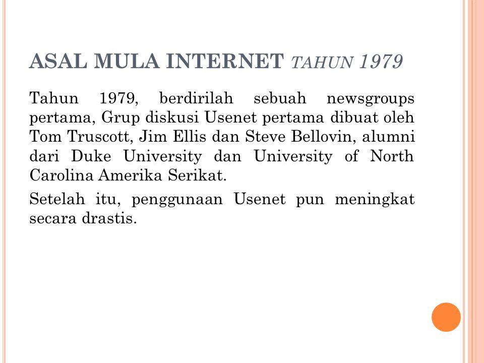 ASAL MULA INTERNET TAHUN 1980 ARPANET dibagi menjadi dua jaringan yaitu ARPANET dan MILNET (Military Network).