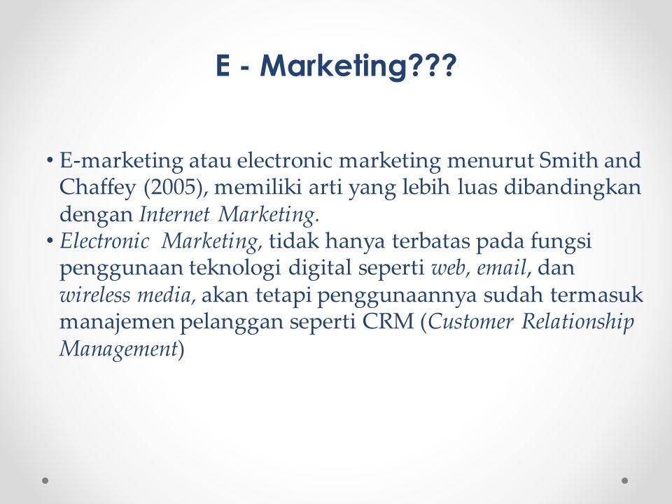 E - Marketing??? • E-marketing atau electronic marketing menurut Smith and Chaffey (2005), memiliki arti yang lebih luas dibandingkan dengan Internet