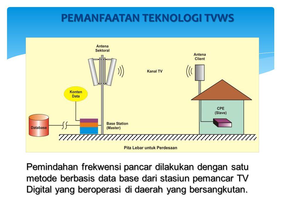 PEMANFAATAN TEKNOLOGI TVWS Pemindahan frekwensi pancar dilakukan dengan satu metode berbasis data base dari stasiun pemancar TV Digital yang beroperasi di daerah yang bersangkutan.