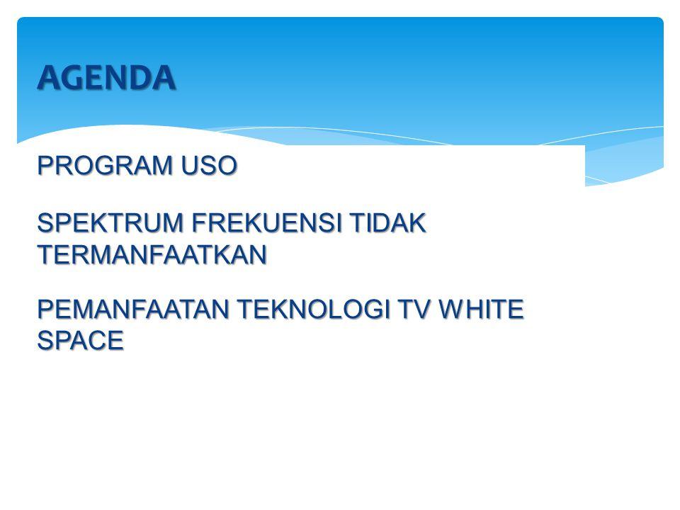 PROGRAM USO SPEKTRUM FREKUENSI TIDAK TERMANFAATKAN PEMANFAATAN TEKNOLOGI TV WHITE SPACE AGENDA