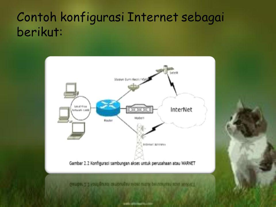 d.Internet Internet juga termasuk jaringan karena merupakan kumpulan berbagai jenis jaringan di dunia yang berbeda dengan sistem operasi maupun aplika