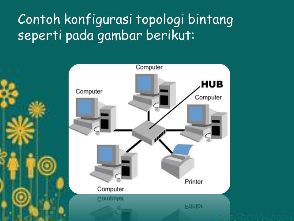 b. Topologi Bintang Topologi bintang merupakan bentuk topologi jaringan yang berupa konvergensi dari node tengah ke setiap node atau pengguna. Topolog