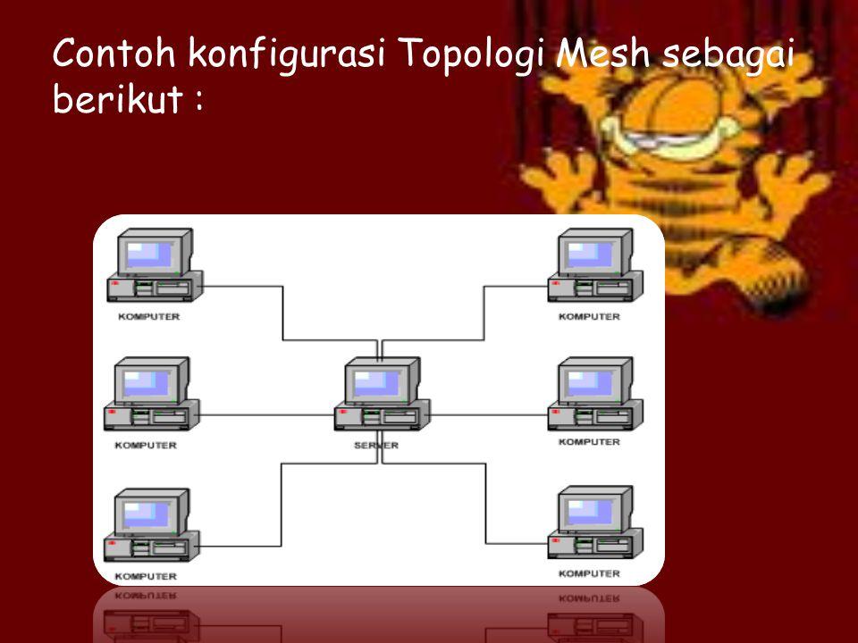 d. Topologi Mesh Topologi mesh merupakan topologi jaringan yang menerapkan hubungan antar sentral secara penuh. Jumlah saluran harus disediakan untuk