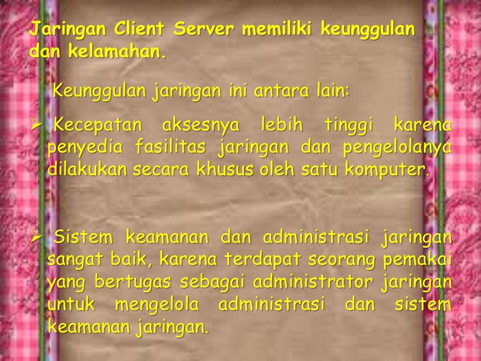 Contoh konfigurasi client server seperti pada gamba berikut:
