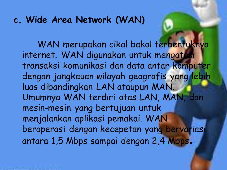 c.Wide Area Network (WAN) WAN merupakan cikal bakal terbentuknya internet.