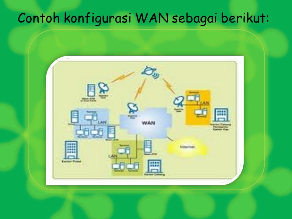 c. Wide Area Network (WAN) WAN merupakan cikal bakal terbentuknya internet. WAN digunakan untuk mengatasi transaksi komunikasi dan data antar komputer