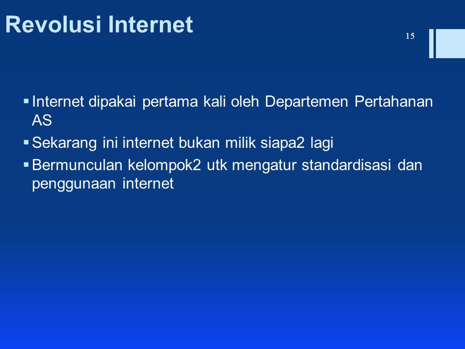 Revolusi Internet  Internet dipakai pertama kali oleh Departemen Pertahanan AS  Sekarang ini internet bukan milik siapa2 lagi  Bermunculan kelompok