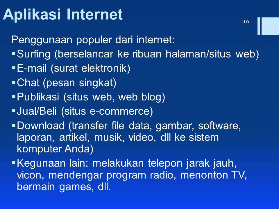 Aplikasi Internet Penggunaan populer dari internet:  Surfing (berselancar ke ribuan halaman/situs web)  E-mail (surat elektronik)  Chat (pesan sing