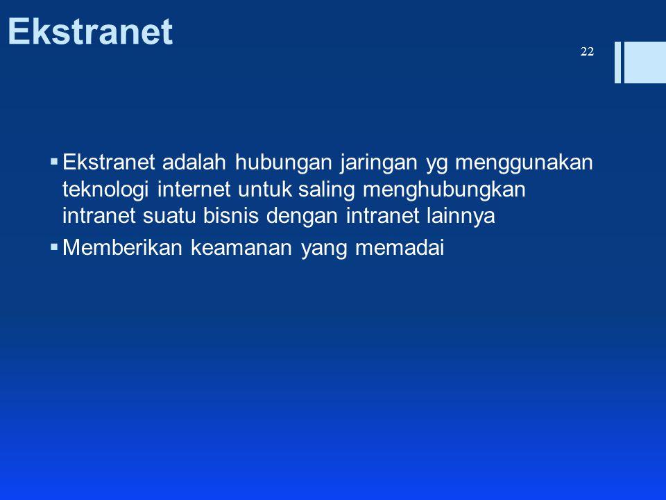 Ekstranet  Ekstranet adalah hubungan jaringan yg menggunakan teknologi internet untuk saling menghubungkan intranet suatu bisnis dengan intranet lain