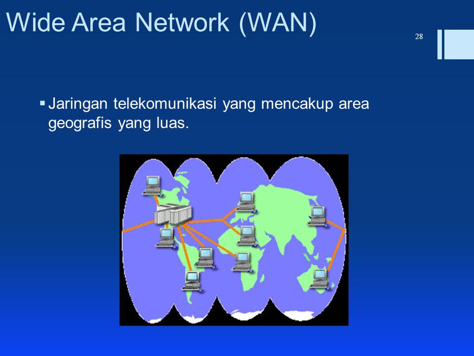 Wide Area Network (WAN)  Jaringan telekomunikasi yang mencakup area geografis yang luas. 28