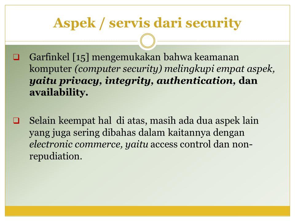Aspek / servis dari security  Garfinkel [15] mengemukakan bahwa keamanan komputer (computer security) melingkupi empat aspek, yaitu privacy, integrit