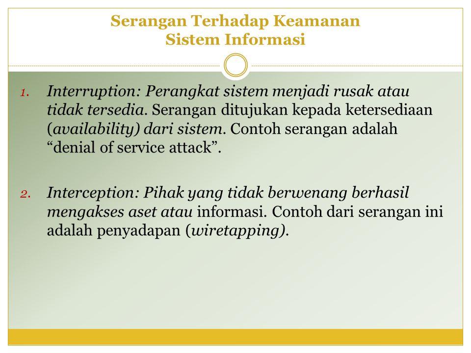 Serangan Terhadap Keamanan Sistem Informasi 1. Interruption: Perangkat sistem menjadi rusak atau tidak tersedia. Serangan ditujukan kepada ketersediaa