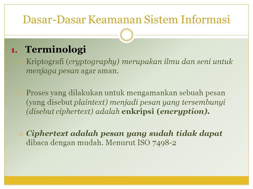Dasar-Dasar Keamanan Sistem Informasi 1. Terminologi  Kriptografi (cryptography) merupakan ilmu dan seni untuk menjaga pesan agar aman.  Proses yang