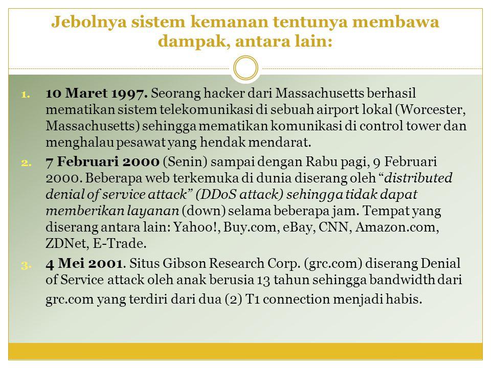 Jebolnya sistem kemanan tentunya membawa dampak, antara lain: 1. 10 Maret 1997. Seorang hacker dari Massachusetts berhasil mematikan sistem telekomuni