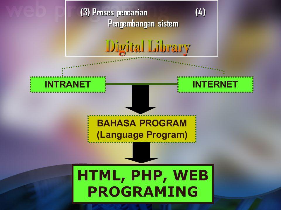 (3) Proses pencarian (4) Pengembangan sistem INTRANETINTERNET BAHASA PROGRAM (Language Program) HTML, PHP, WEB PROGRAMING