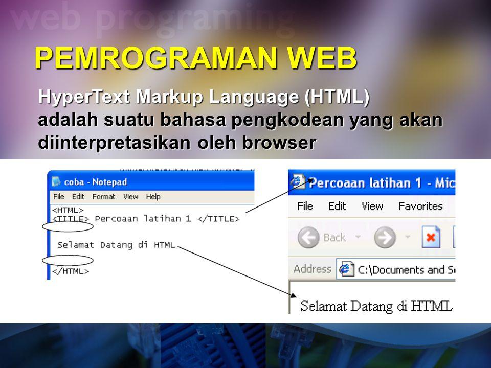 PEMROGRAMAN WEB HyperText Markup Language (HTML) adalah suatu bahasa pengkodean yang akan diinterpretasikan oleh browser