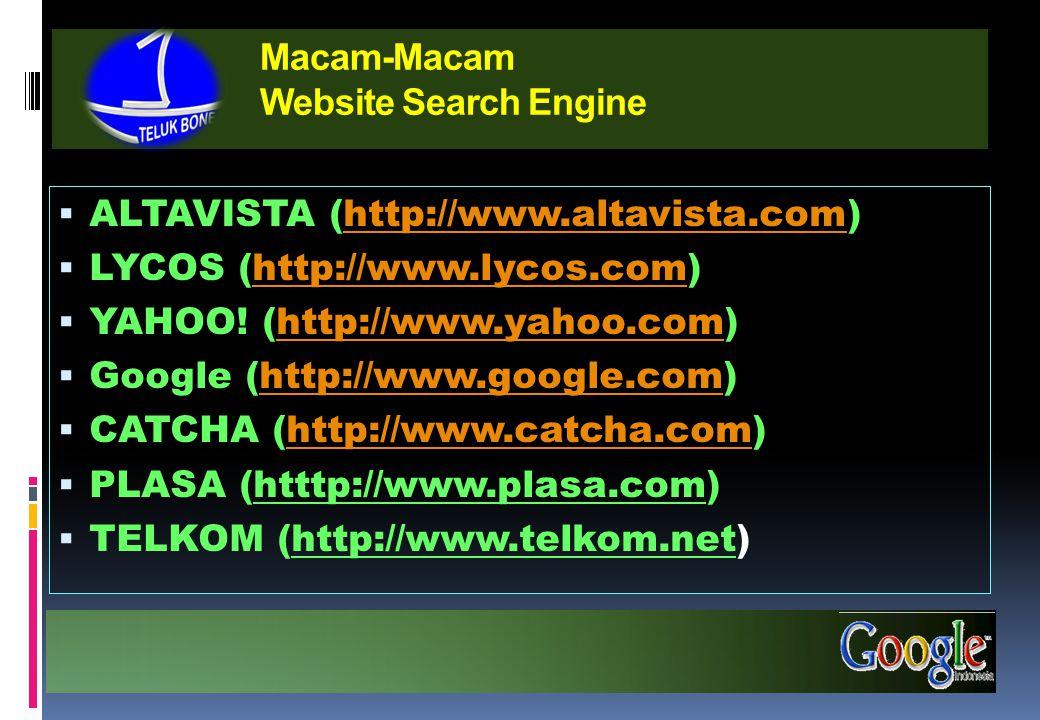 Macam-Macam Website Search Engine  ALTAVISTA (http://www.altavista.com)http://www.altavista.com  LYCOS (http://www.lycos.com)http://www.lycos.com  YAHOO.