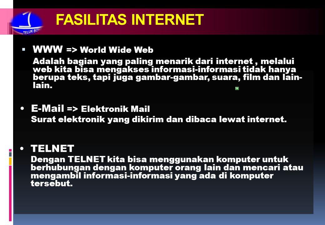 FASILITAS INTERNET  WWW => World Wide Web Adalah bagian yang paling menarik dari internet, melalui web kita bisa mengakses informasi-informasi tidak hanya berupa teks, tapi juga gambar-gambar, suara, film dan lain- lain.