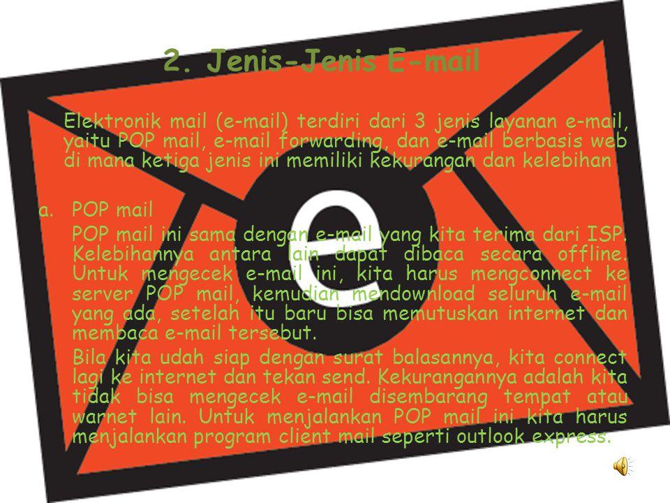 1. Bagian-bagian Alamat E-mail Alamat e-mail memiliki 3 bagian, yaitu : a.Alamat e-mail dipisahkan oleh tkamu @ (tkamu di). b.Bagian sebelum tkamu @ a