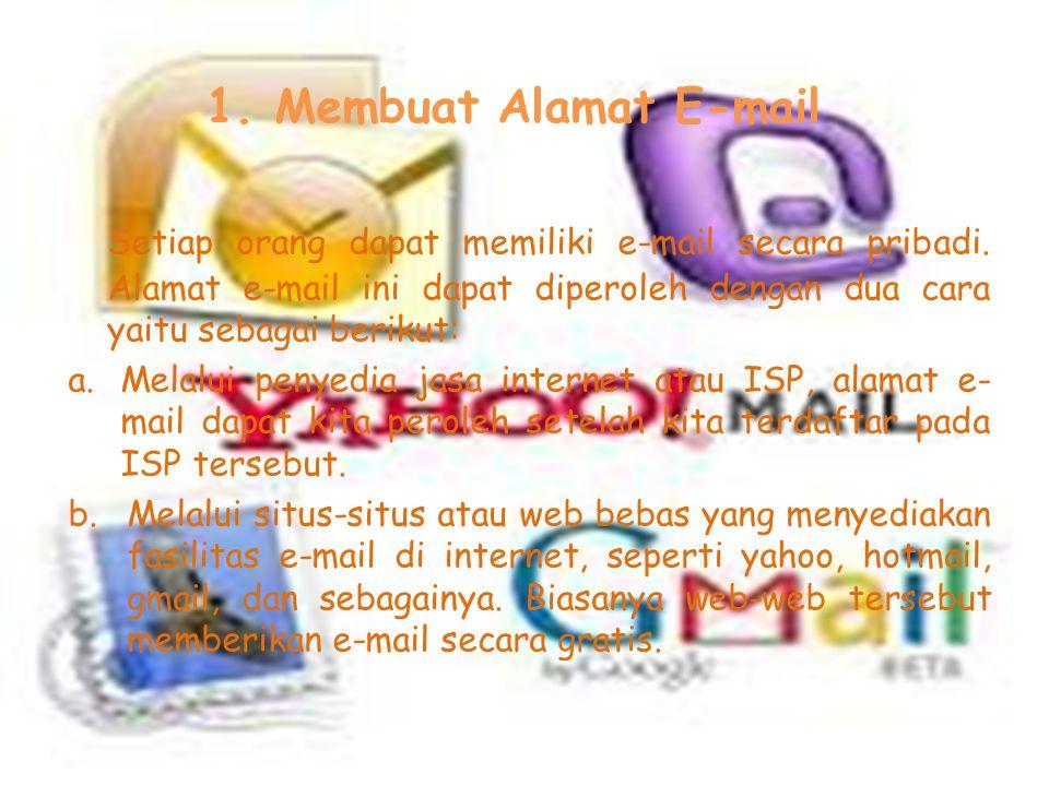 B. Penggunaan dan Pemakaian E-mail Untuk menggunakan e-mail, ada satu tahapan penting yang harus kita lakukan, yaitu membuka account dan mendaftar pad