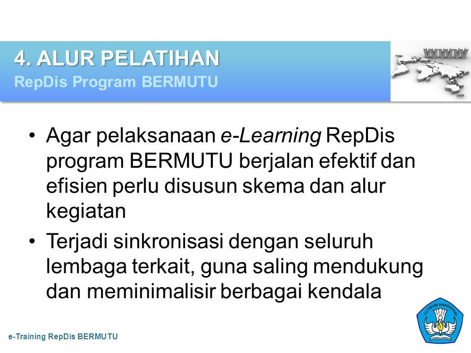 •Agar pelaksanaan e-Learning RepDis program BERMUTU berjalan efektif dan efisien perlu disusun skema dan alur kegiatan •Terjadi sinkronisasi dengan se