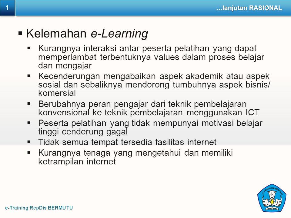 e-Training RepDis BERMUTU 1 1 …lanjutan RASIONAL  Kelemahan e-Learning  Kurangnya interaksi antar peserta pelatihan yang dapat memperlambat terbentu