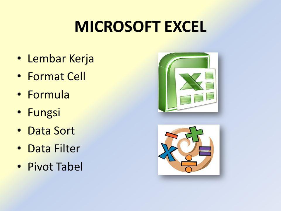 MICROSOFT EXCEL • Lembar Kerja • Format Cell • Formula • Fungsi • Data Sort • Data Filter • Pivot Tabel