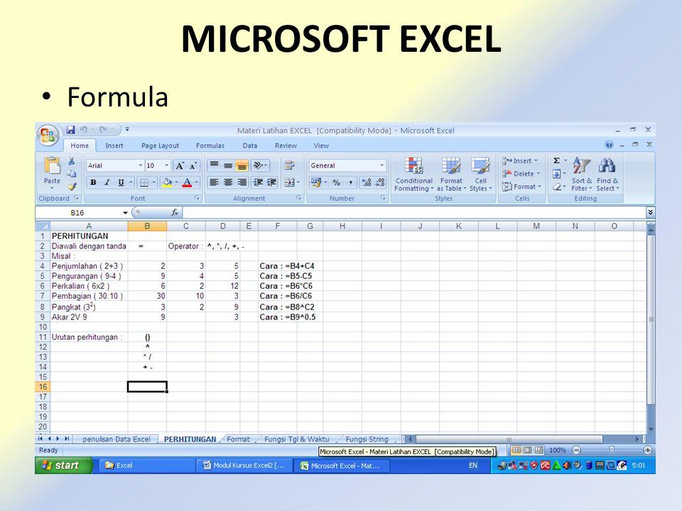 MICROSOFT EXCEL • Formula