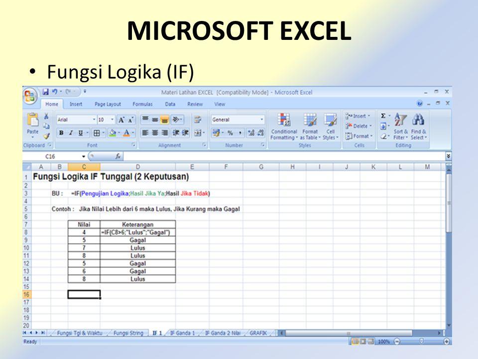 MICROSOFT EXCEL • Fungsi Logika (IF)