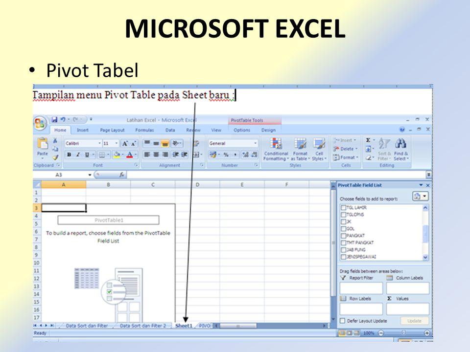 MICROSOFT EXCEL • Pivot Tabel