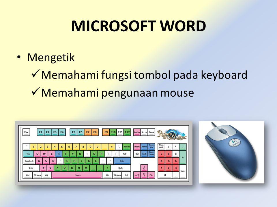 MICROSOFT WORD • Mengetik  Memahami fungsi tombol pada keyboard  Memahami pengunaan mouse  Click • Click ( Kiri, Kanan) • Double Click • Triple Click  Scroll