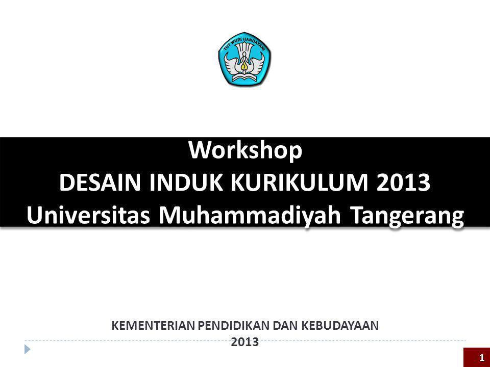 Workshop DESAIN INDUK KURIKULUM 2013 Universitas Muhammadiyah Tangerang Workshop DESAIN INDUK KURIKULUM 2013 Universitas Muhammadiyah Tangerang KEMENT