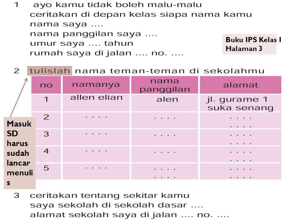 Buku IPS Kelas I Halaman 3 Masuk SD harus sudah lancar menuli s