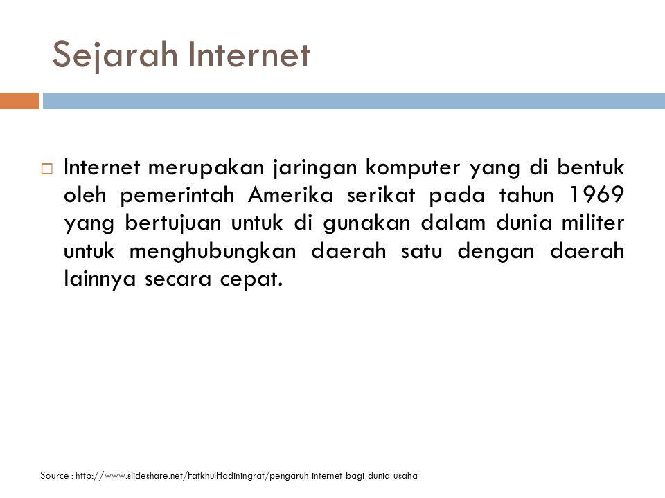 Sejarah Internet  Internet merupakan jaringan komputer yang di bentuk oleh pemerintah Amerika serikat pada tahun 1969 yang bertujuan untuk di gunakan dalam dunia militer untuk menghubungkan daerah satu dengan daerah lainnya secara cepat.