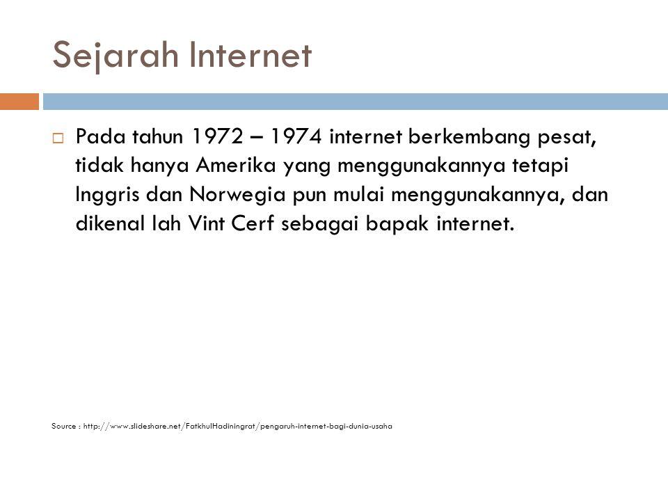 Sejarah Internet  Pada tahun 1972 – 1974 internet berkembang pesat, tidak hanya Amerika yang menggunakannya tetapi Inggris dan Norwegia pun mulai menggunakannya, dan dikenal lah Vint Cerf sebagai bapak internet.