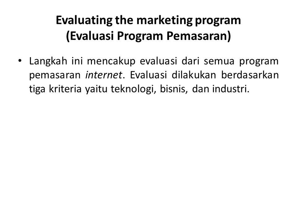 Evaluating the marketing program (Evaluasi Program Pemasaran) • Langkah ini mencakup evaluasi dari semua program pemasaran internet. Evaluasi dilakuka